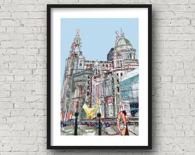 Featured listing image: Liverpool Waterfront - 3 Graces - Lambanana - PRINT