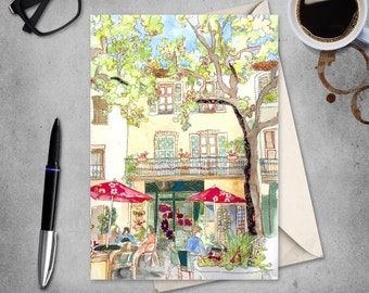 French Cafe - French Village - Provence -  France - Cafe Scene - Blank Card