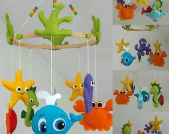 Under the sea hanging crib mobile  / baby mobile/ ceiling mobile / crib mobile / nursery decor / sea animals mobile / whale / crabe /