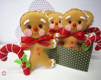 Mr Gingerman  bread /  Christmas felt ornament / gingermanbread / felt ornaments / Christmas ornaments / decorations Noël / sapin de Noël /