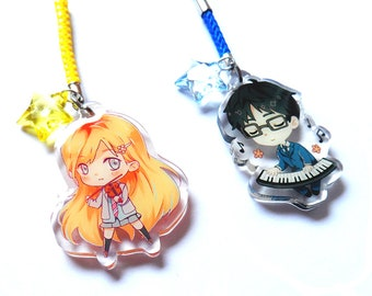 Your lie in April clear acrylic charms