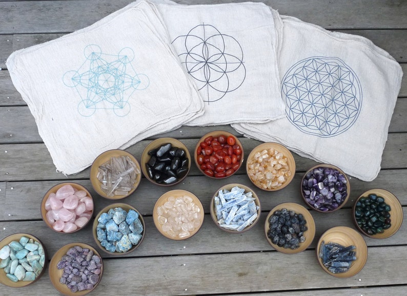CRYSTAL GRID CLOTHS  set of 3  100% cotton all natural image 0