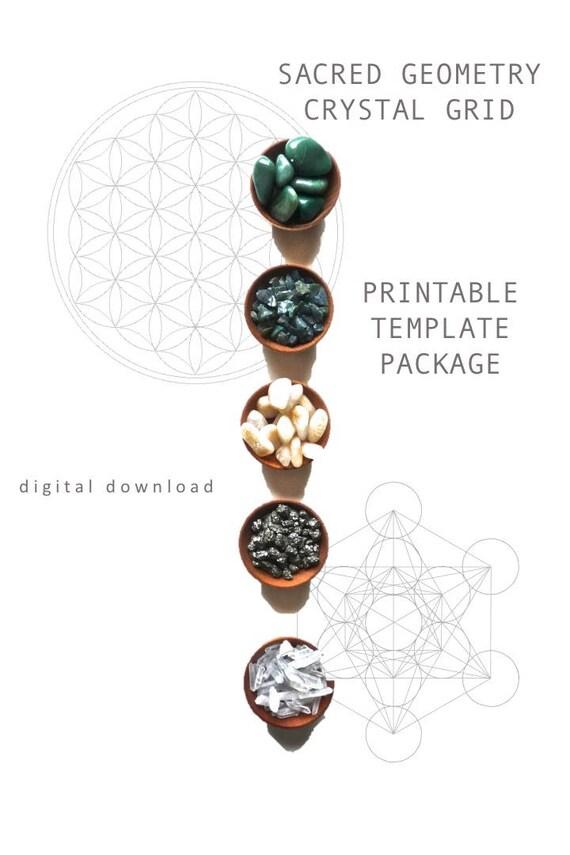 PRINTABLE CRYSTAL GRID template package sacred geometry