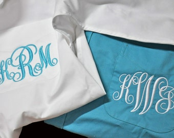 6 Monogram Bridal Party Shirts, Monogrammed Bridal Party Shirts, Personalized Bridesmaids Gifts, Bridesmaids Button Downs, Set of 6