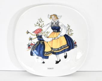 Rörstrand China Dancing Ladies Decorative Plate-Traditional Swedish Costumes