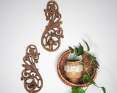 Boho Faux Wood Wall Sconces- Air Plant Holders- Vintage Statement Wall Piece