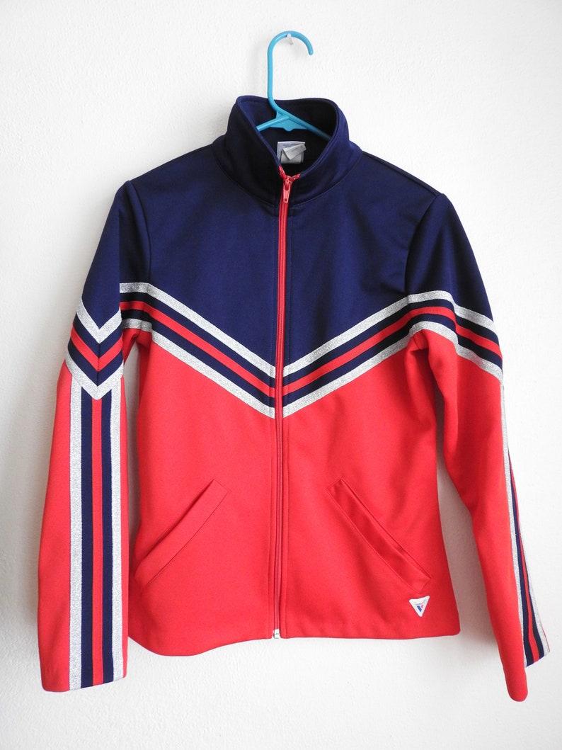 White and Blue Varsity Track Jacket Red