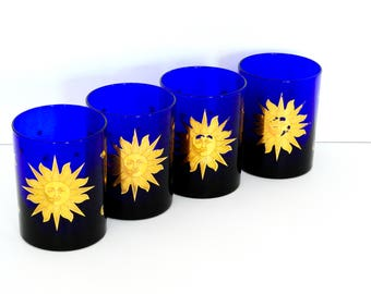 Culver Cobalt Blue and Gold Sun Drinking Glasses