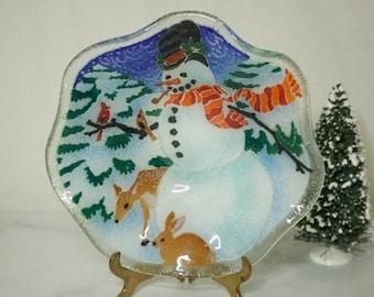 Peggy Karr Glass Snowman Ruffled Bowl- Christmas Gifts