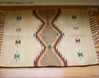 Small Southwestern Style Hand Woven Boho Style Rug