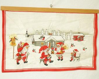 Swedish Linen Wall Hanging- Tomtes- Santa's Village- Winter Scene- Mia L