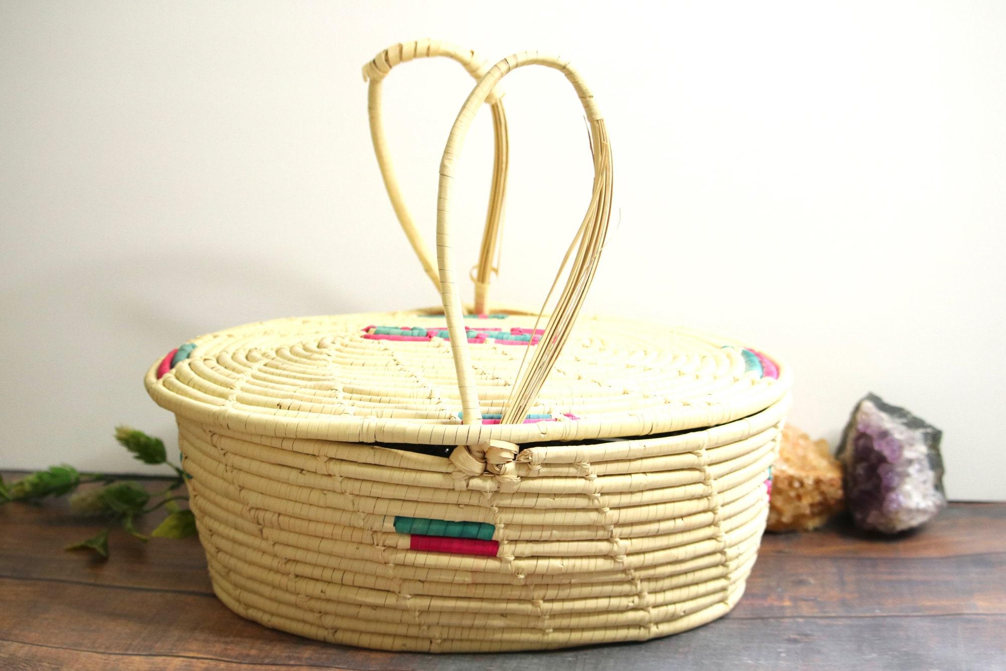 Vintage Covered Picnic Basket Farmer S Market Basket Etsy