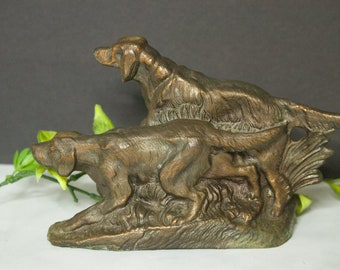 Bronzed Cast Iron Metal Setters Bookend