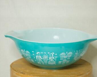 Pyrex Aqua Amish Butterprint Bowl- 444- 4 QT- Cinderella Mixing Bowl