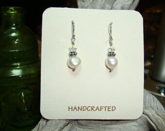 White Freshwater Nugget Pearl & Sterling Silver, Crystal, Pierced Earrings