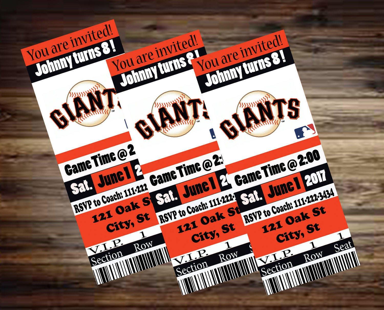 Giants Ticket Invitation Boys Sports Baseball custom made | Etsy