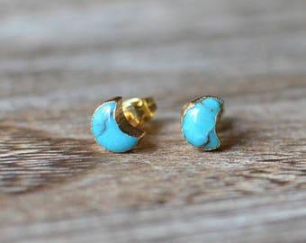 Turquoise Crescent Moon Stud Earrings