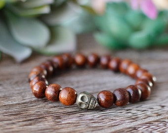 Mens Skull Bracelet Wood and Pyrite Skull
