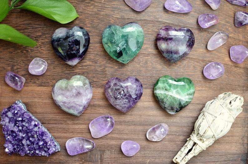 Fluorite Heart Shaped Palmstones image 0