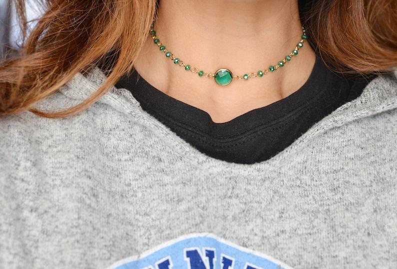 Beaded Choker Necklace Green