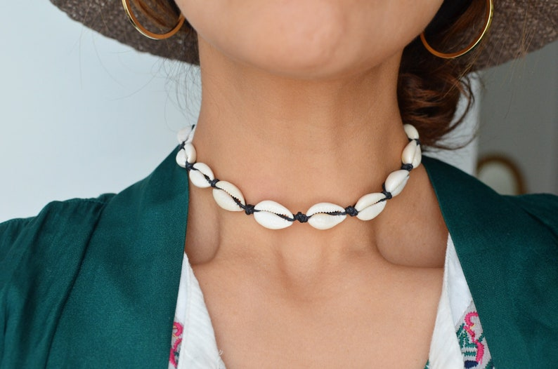 Cowrie Shell Choker Necklace in White and Black image 0