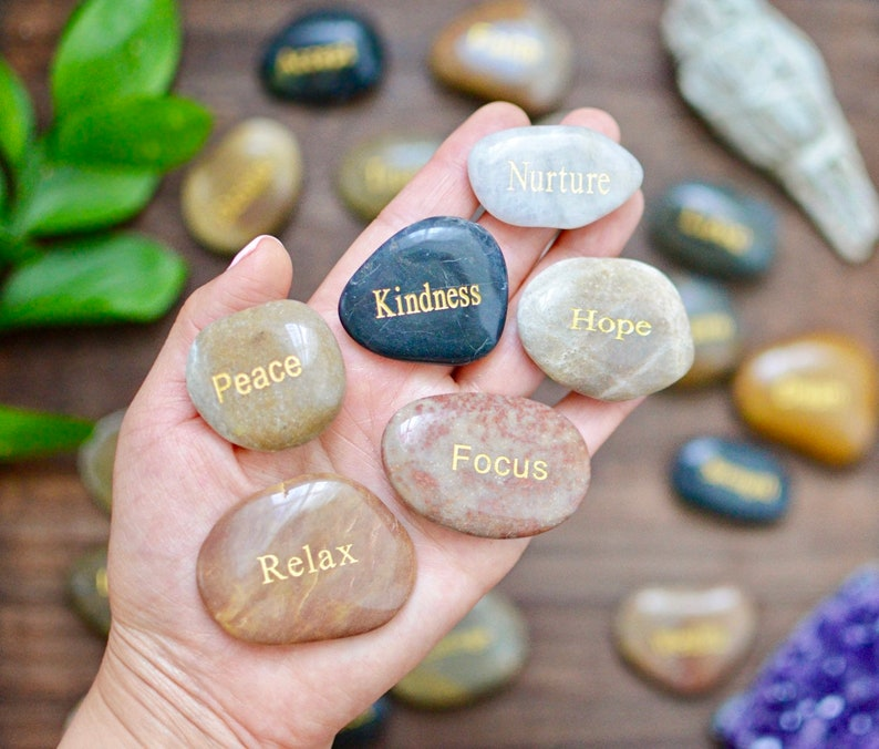 Engraved Meditation Stone    Mantras   River Rocks   image 0