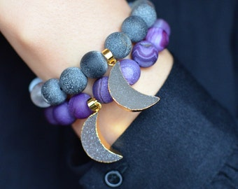 Purple Crescent Moon Druzy Bracelet