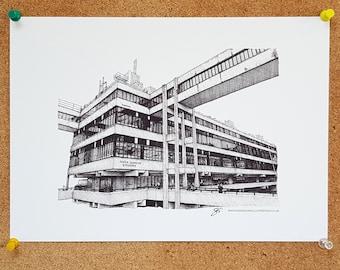 Irene Manton Building, Leeds University, Drawing - Leeds Poster