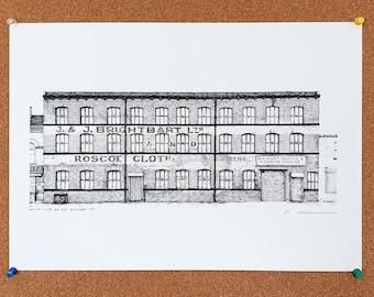 Roscoe Cloth and J&J Brightbart Ltd - Drawing - Leeds Poster