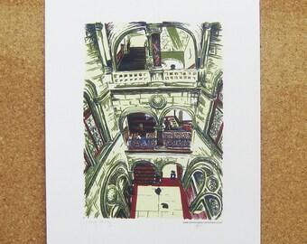 Library Stairway Art Print - Leeds Poster