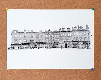 New Briggate Drawing - Leeds Poster