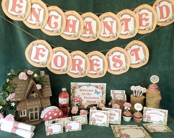 Enchanted Forest Woodland Printable Party Pack Kit Instant Download