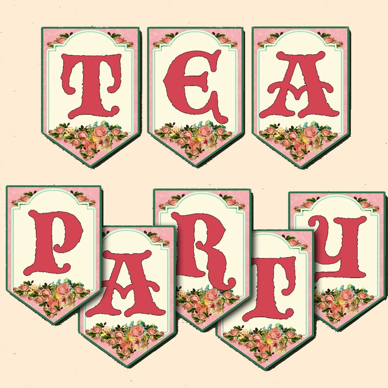 Tea Party Banner Bunting Printable Instant Download image 0