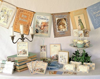 Jane Austen Printable Party Pack Kit, Wedding, Birthday, Bridal Shower, Instant Download