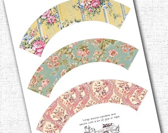 Cupcake Wrappers Vintage Floral Shabby Chic Printable Instant Download