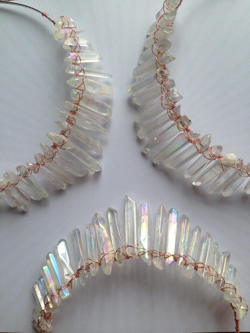 Healing Crystals Crown Mermaid Crown Clear Quartz Crystals image 0