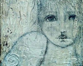 Painting, Original Artwork, Angel, 8x8, Abstract,