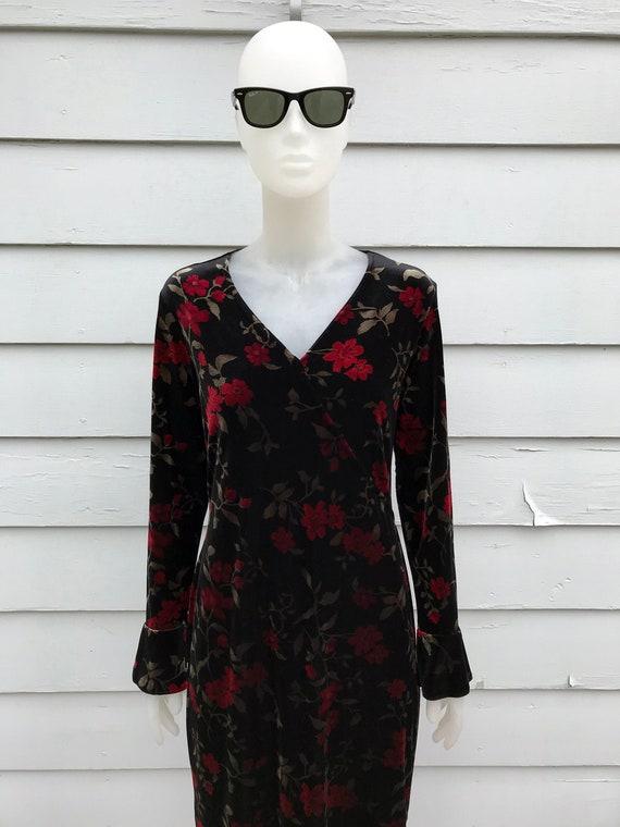 80s Black Velvet Bell Sleeve Floral Dress Medium P