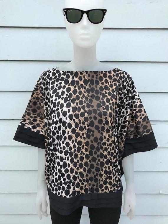 80s Leopard Cheetah Print Boxy Batwing Cape Blouse