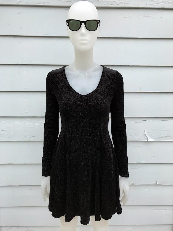 90's Black Velvet Floral Paisley Vines Dress Long