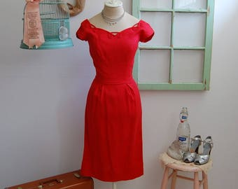 SALE // Vintage 1950s - 1960s Cherry Red Wiggle Bombshell Dress  S
