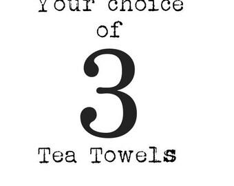 Three Flour Sack Tea Towels