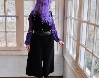 ec53f78c78f Mod Black Vintage Jumpsuit Cotton Velveteen Button Front Nova Loungewear Crop  Wide Leg Medium