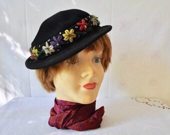 Fancy Damen Wollfilz 1920er Vintage Cloche Bowler Hut Winter Derby Kleid Hut f/ür Damen