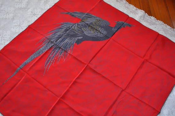 Vintage Red Silk Designer Scarf/Large Italian Desi