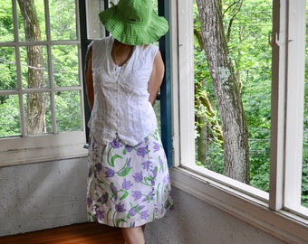 Vtg 70s Bird Print Vested Gentress Cotton Skirt/Novelty Parrot Print/Purple Green White/Size 8