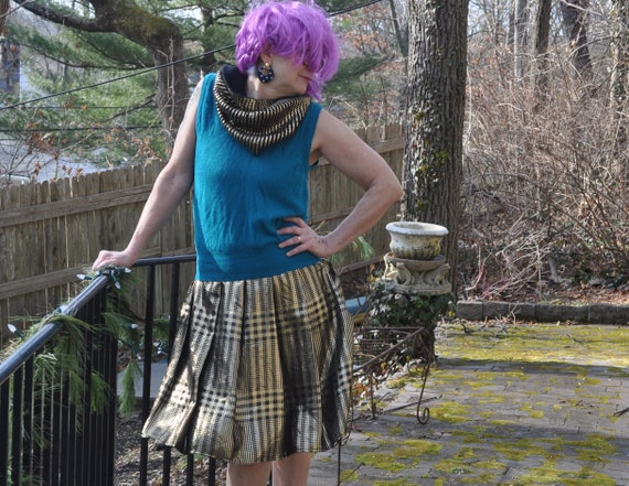Vintage 80s Pauline Trigere Pleated Lame Mini Skir