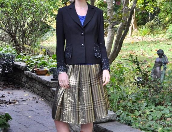 Pauline Trigere Pleated Plaid Metallic Lame Skirt/
