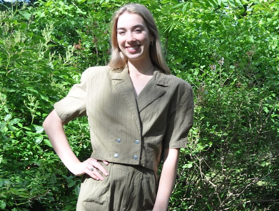 Vintage 80s Khaki Green Two Piece Pantsuit/High Wa