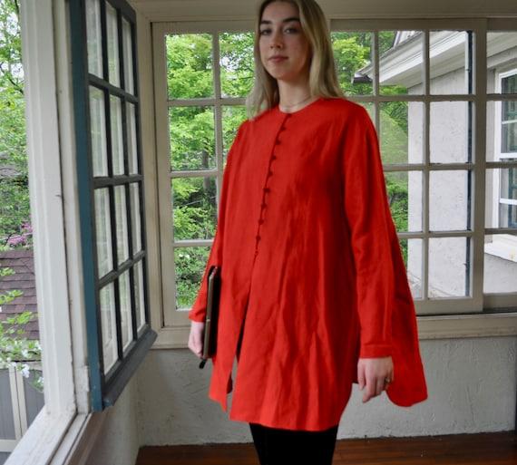 Vintage 90s Bell Shape Red TunicDonna Karan Long Linen JacketFull, Cape Like TopLarge